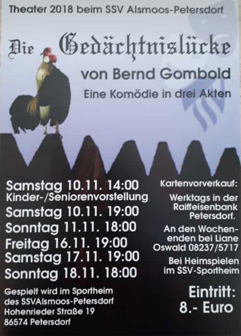 Theateraufführung SSV Alsmoos-Petersdorf 2018