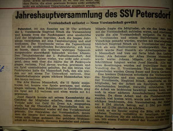 Chronik SSV Petersdorf